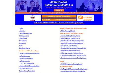 Screenshot of Site Map Page adsafetyconsultants.com - Training Services - captured Oct. 4, 2014