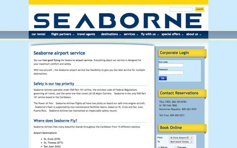 Screenshot of Services Page seaborneairlines.com - Careers   Seaborne Airlines : Flights to San Juan, Vieques, St. Thomas and St. Croix - captured Sept. 30, 2014