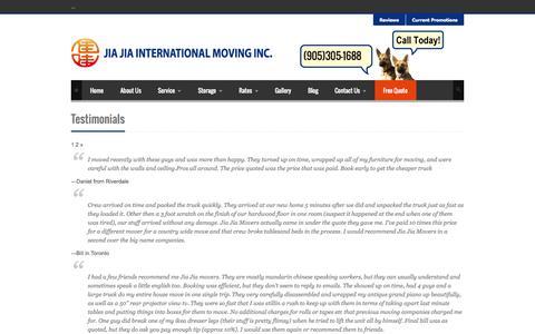 Screenshot of Testimonials Page jiajiamoving.com - Testimonials | Jia Jia International Inc. - captured Oct. 6, 2014