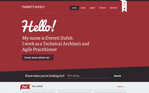 Screenshot of Home Page zufelt.ca - Everett Zufelt | Technical Architect and Agile Practitioner - captured Sept. 2, 2015