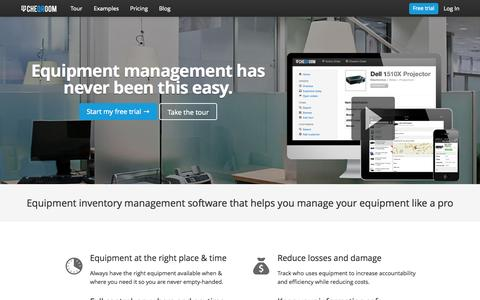 Screenshot of Home Page cheqroom.com - Inventory management software for valuable equipment - captured July 17, 2015