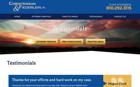 Screenshot of Testimonials Page cflegal.net - Testimonials | Christenson & Fiederlein, PC - captured Sept. 28, 2018