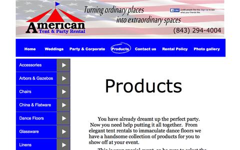 Screenshot of Products Page americantentsandevents.com - Wedding & Party Rental Products -Tents, Tables, Chairs, Linens, China, in Myrtle Beach, SC - captured Feb. 6, 2016
