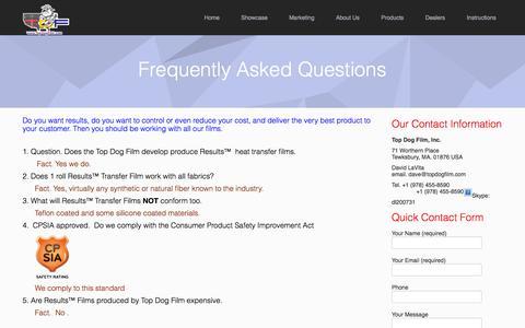 Screenshot of FAQ Page topdogfilm.com - Top Dog Film |  » F A Q - captured Oct. 9, 2014