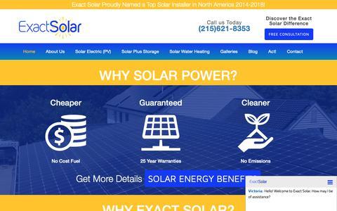 Screenshot of Home Page exactsolar.com - Home - Exact Solar - captured Dec. 8, 2018