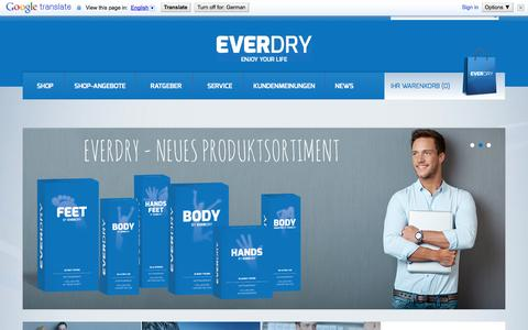 Screenshot of Home Page everdry.de - everdry Antitranspirant – mehr als ein Deo gegen starkes Schwitzen - captured Sept. 22, 2014