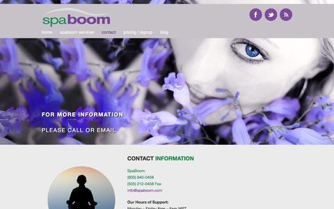 Screenshot of Contact Page spaboom.com - Contact | SpaBoom - captured Feb. 2, 2016