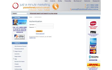 Screenshot of Login Page promotionalproduct.com.au - Promotional Product: Christmas Promotional Products, Promotional Gift, Promotional Campaigns - captured March 13, 2016