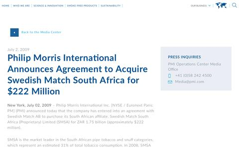 Screenshot of Press Page pmi.com - Philip Morris International Announces Agreement to Acquire Swedish Match South Africa for $222 Million - captured Nov. 1, 2018