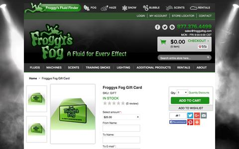 Screenshot of Support Page froggysfog.com - Froggys Fog Gift Card  - Froggys Fog - captured Dec. 5, 2015