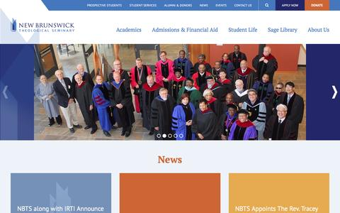 Screenshot of Home Page nbts.edu - New Brunswick Theological Seminary – many gifts, one faith - captured Feb. 24, 2016