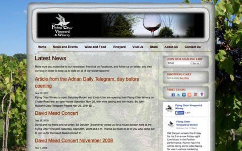 Screenshot of Press Page flyingotter.com - Latest News   Flying Otter Vineyard and Winery - captured Oct. 6, 2014