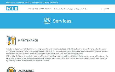 Screenshot of Services Page wibmachines.com - WIB Machines - Services - captured Oct. 21, 2017
