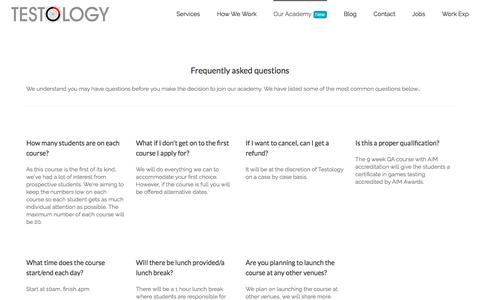 Screenshot of FAQ Page testology.co.uk - Academy Faqs - Testology - captured Feb. 24, 2018