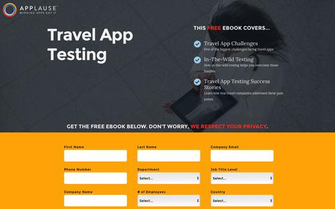 Screenshot of Landing Page applause.com - Travel App Testing Ebook - Applause: 360° App Quality - captured March 15, 2016