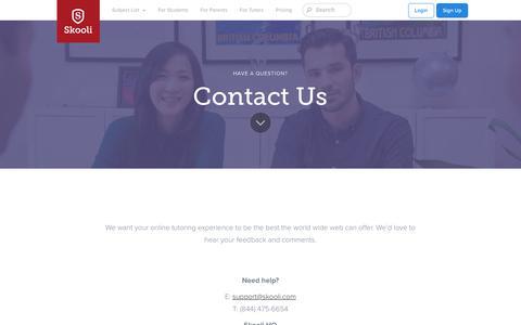 Screenshot of Contact Page skooli.com - Online Tutoring   Find a tutor   Online tutoring services from Skooli - captured Feb. 4, 2018