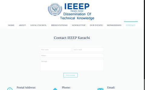 Screenshot of Contact Page ieeepkhi.org - Contact us – IEEEP - captured Nov. 14, 2018