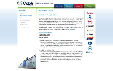 Screenshot of Support Page cobbtechnologies.com - Customer Service - Printers - Copiers - Cobb Technologies - Document Management - Richmond - Roanoke - Tidewater VA - captured Sept. 30, 2014