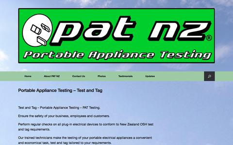 Screenshot of Home Page patnz.com - Portable Appliance Testing - Test and Tag - PAT NZ Test and Tag - captured July 8, 2017