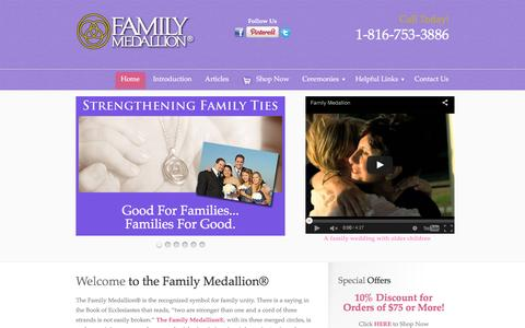 Screenshot of Home Page familymedallion.com - Welcome to the Family Medallion‌® - The Family Medallion® - Family Jewelry - captured June 15, 2016