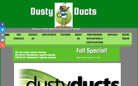 Screenshot of Home Page dustyducts.com - Home - captured Oct. 9, 2018