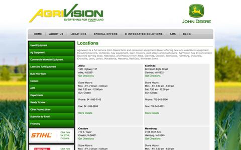 Screenshot of Locations Page agrivision.us - Iowa John Deere Dealer| Tractors| Combines| Sprayers| Lawn Mowers| Skid Steers » AgriVision - captured Oct. 3, 2014