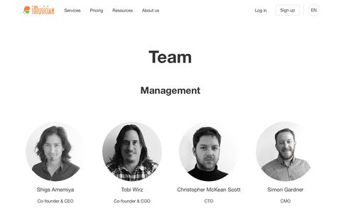 Screenshot of Team Page imusiciandigital.com - iMusician Digital — Sell, manage and monetise your music online - captured Nov. 13, 2019