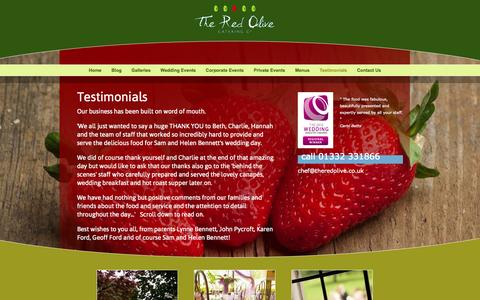 Screenshot of Testimonials Page theredolive.co.uk - Testimonials - reviews of The Red Olive Catering Co.'s service - captured Oct. 6, 2014