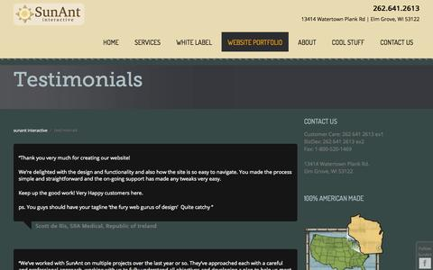 Screenshot of Testimonials Page sunant.com - Words From Our Clients: Web Testimonials | SunAnt - captured Oct. 27, 2014