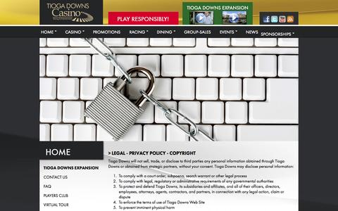Screenshot of Terms Page tiogadowns.com - Tioga Downs Casino & Racing - captured Oct. 31, 2014