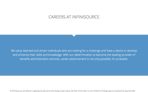 Screenshot of Jobs Page infinisource.com - Careers at Infinisource - Infinisource Benefit Services - captured Aug. 12, 2019