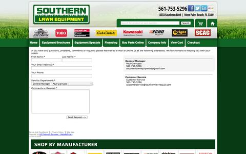 Screenshot of Contact Page southernlawnequip.com - Southern Lawn Equipment | Contact Us - captured Oct. 7, 2014