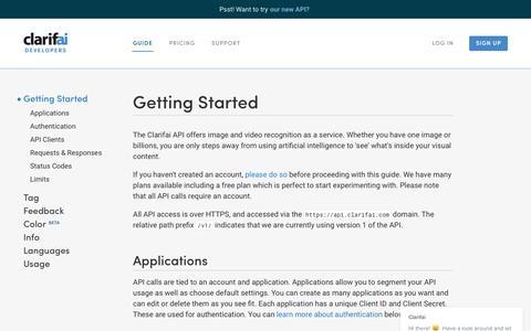 Screenshot of Developers Page clarifai.com - Getting Started | Clarifai Developer - captured Dec. 10, 2016