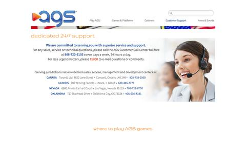Screenshot of Support Page americangamingsystems.com - Customer Support - captured Sept. 30, 2014