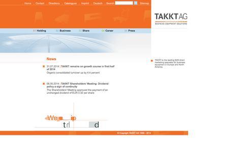 Screenshot of Home Page takkt.de - TAKKT AG - Home - captured Sept. 23, 2014