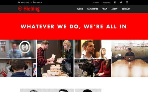 Screenshot of Team Page hiebing.com - Team Hiebing | Directors & Senior Leadership | Biographies | Hiebing - captured April 9, 2018