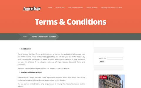 Screenshot of Terms Page antobar.co.uk - Terms & Conditions | Antobar - captured May 30, 2017