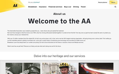 Screenshot of About Page theaa.com - About Us | AA - captured May 4, 2016