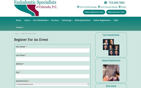 Screenshot of Signup Page endospec.com - Sign Up For An Event :: Endodontic Specialists of Colorado - captured Jan. 31, 2018