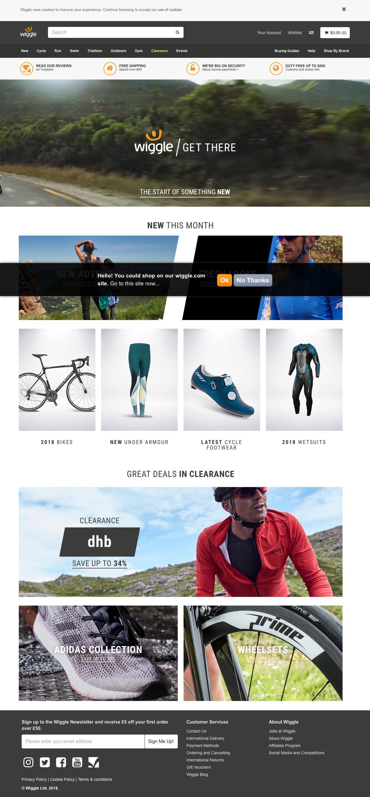 Screenshot of wiggle.co.uk - Wiggle | Cycle | Run | Swim | Tri-Sports & Bike Shop - captured March 26, 2018