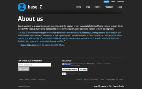 Screenshot of About Page base-z.com - base-Z: Multifuncional iPhone support - captured Sept. 30, 2014