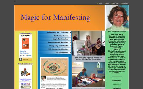 Screenshot of Home Page Site Map Page magicformanifesting.com - Magic for Manifesting - captured July 30, 2017
