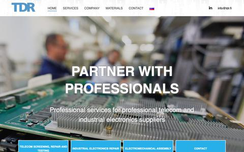 Screenshot of Home Page tdr.fi - Services for telecom and electronics industry - TDR Group - captured Nov. 18, 2018