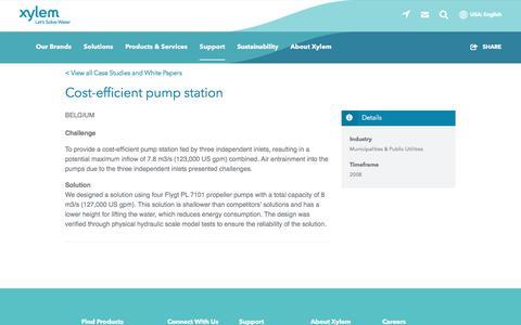 Screenshot of Case Studies Page xylem.com - Case Study: Cost-efficient pump station   Xylem US - captured Nov. 9, 2019