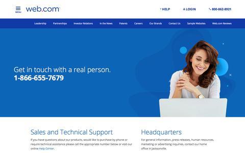 Screenshot of Contact Page web.com - Contact Us | Web.com - captured Aug. 16, 2019