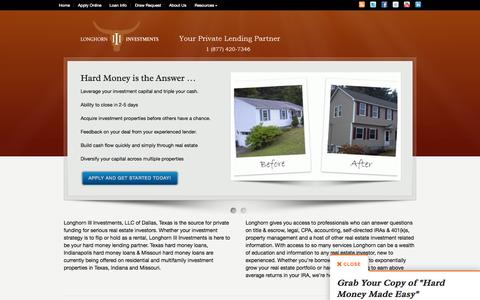 Screenshot of Home Page longhorninvestments.com - Longhorn III Investments - captured Oct. 3, 2014
