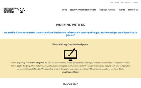 Screenshot of Jobs Page isqworld.com - Work at Information Security Quotient - captured Feb. 4, 2016