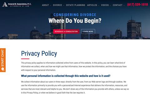 Screenshot of Privacy Page amarallaw.com - Privacy Policy | Amaral & Associates, P.C. | Winthrop, Massachusetts - captured Nov. 23, 2019