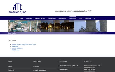Screenshot of Case Studies Page amertechinc.com - Case Studies – Amertech, Inc. - captured July 30, 2018