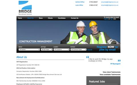 Screenshot of About Page bridgerecruit.co.uk - Part time Employment | London | UK | Part time Employment Agency - Bridge Recruitment Services - captured Oct. 5, 2014